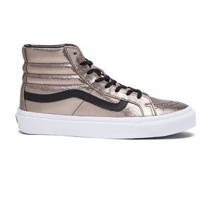 SK8-Hi Slim Metallic Sneaker in Bronze & Black 8